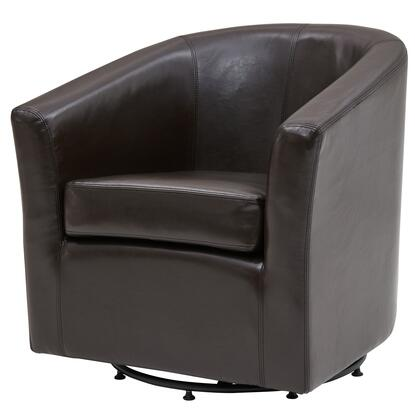 Hayden Collection 193012B-01 Chair with 360 Degree Swivel  Stitching Details and Bonded Leather Upholstery in