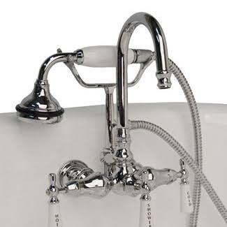 CAM684W-CP Clawfoot Tub Brass Wall Mount Faucet with Hand Held Shower - Polished