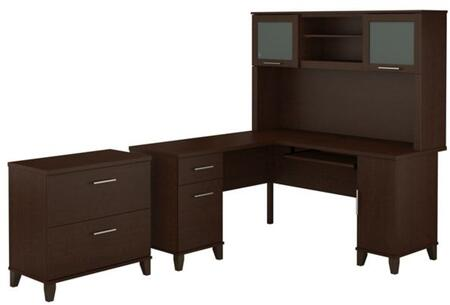 Somerset WC81830K-31-80 2-Piece Desk and Hutch Set with Lateral File Cabinet in Mocha Cherry