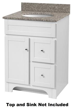 WRWA2421D 24 inch  Worthington Bathroom Vanity with One Door and Two Drawers  Solid Wood Frames  Closed Arch Toe Kick and Chrome Hardware in White