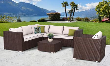 Valeria Collection SUN-6005 5 PC Deep Seating Group with 1 Club Chair  1 Left End Sectional Sofa  1 Right End Sectional Sofa  1 Corner Sofa  1 Coffee Table and