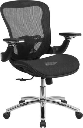 GO-WY-87-GG Mid-Back Black Mesh Executive Swivel Office Chair with Synchro-Tilt and Height Adjustable Flip-Up
