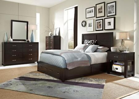 Primo Vista Collection 6 Piece Bedroom Set With California King Size Panel Storage Bed + 2 Nightstands + Dresser + Drawer Chest + Mirror: