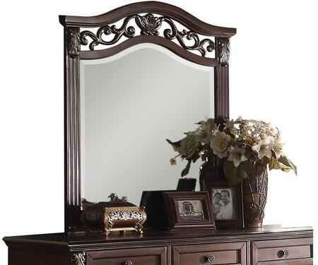 Manfred Collection 22774 37 inch  x 41 inch  Mirror with Beveled Edges  Rectangle Shape  Scrolled Metal Inserts and Pine Wood Construction in Dark Walnut