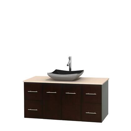 Wcvw00948sesivgs1mxx 48 In. Single Bathroom Vanity In Espresso  Ivory Marble Countertop  Altair Black Granite Sink  And No
