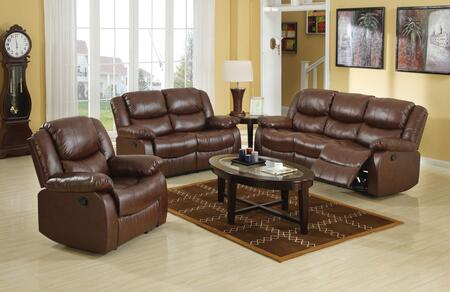 Fullerton Collection 50010SET 6 PC Living Room Set with Sofa + Loveseat + Recliner + Coffee Table + 2 End Tables in Brown