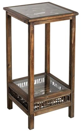 6287 Folly Pedestal in Medium Brown Wood Finish with Glass