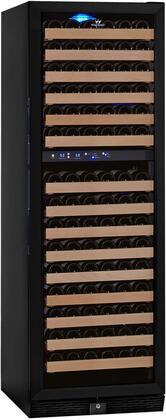 KBU-170D-FG 24 inch  2 Temperature Zones Wine Cooler with164 Bottle Capacity  Warp Resistant Beech Wood Shelves and Door Lock: Glass Door in