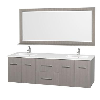 WCV00972GOWHDB 72 in. Double Bathroom Vanity in Espresso Grey Oak with White Man-Made Stone Top with Square Porcelain Undermount Sink and 70 in.