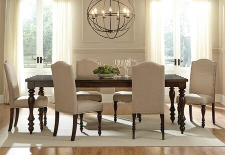 McGregor Collection 17721-6SC 7-Piece Dining Room Set with Rectangular Dining Table and 6 Side Chairs in Brown and