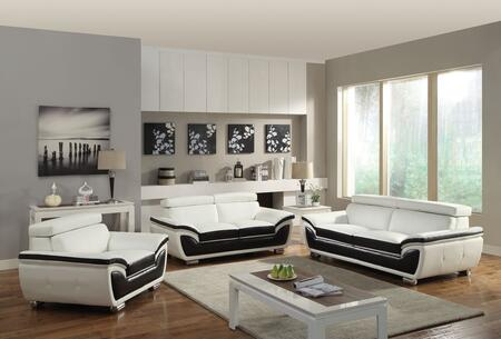 Olina Collection 50145SLCT 6 PC Living Room Set with Sofa + Loveseat + Chair + 3 PK Table Set in White and Coffee
