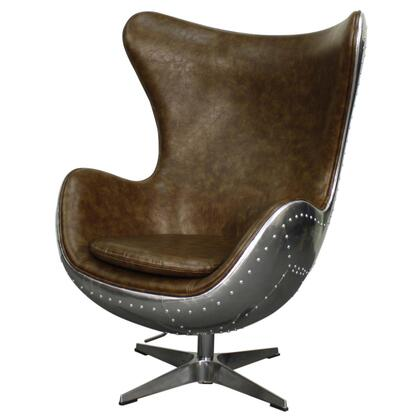 Axis Collection 633043P-D3-AL Rocker Chair with Aluminum Frame  360 Degree Swivel and PU Upholstery in Distressed