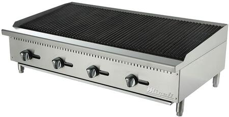 C-CR48 48 inch  Competitor Series Char-Rock Broiler with 4  inch U inch  Shape Burners  High Polished Stainless Steel Construction  and Manual Ignition  in Stainless