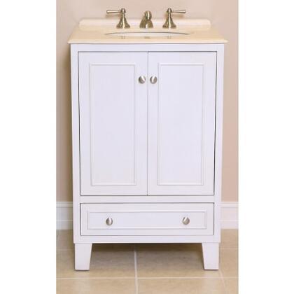 Minnie 2422SWC 24 inch  Single Sink Vanity with Cream Marfil Marble Top  1 inch  Backsplash  1 Porcelain  Undermount Sink  2 Doors  1 Shelf  1 Felt-lined Drawer with