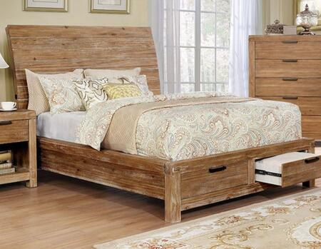 CM7361Q-BED Dion Collection Queen Size Storage Bed with Rustic Style  Storage Drawers  Wood Veneer  Internal USB Port and Simple Pull  in Light