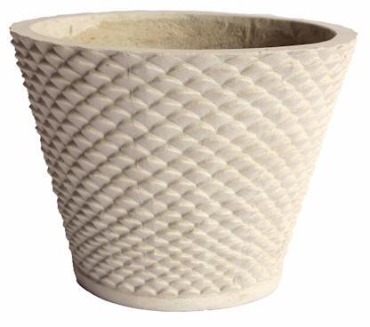 Cadiz Collection PL-R1814C 18 Round Planter with Cast Limestone Construction and Contemporary Design in Natural