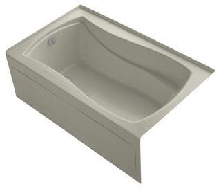 K-1242-LAW-G9 60x36x20 Alcove Apron-Front Acrylic Soaking Bath Tub With Bask Heated Surface  Tile Flange And Left
