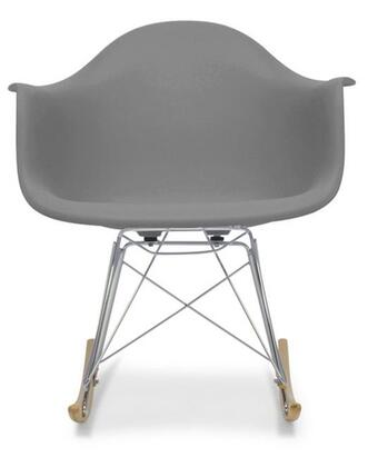 Baxton Studio DC-311W-GREY Dario Mid-Century Modern Shell Chair with Chrome-Plated Steel Base  Non-Marking Feet and Polypropylene Plastic