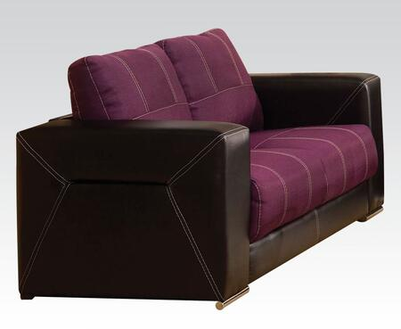 Brayden Collection 51681 75 inch  Loveseat with Wood Frame  Tight Cushions  Baseball Stitching  Track Arms  Linen and PU Leather Upholstery in Purple and Black