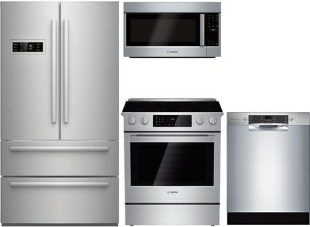 4-Piece Stainless Steel Kitchen Package with B21CL80SNS 36 inch  French Door Refrigerator  HEI8054U 30 inch  Slide In Electric Range  HMV5053U 30 inch  Over the Range