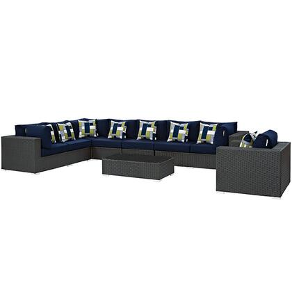 Sojourn Collection EEI-2399-CHC-NAV-SET 7-Piece Outdoor Patio Sunbrella Sectional Set with Armchair  Coffee Table  Corner Section  Left Arm Loveseat  Right Arm