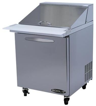 KSTM271 27 inch  Sandwich Prep Tables Mega Tops with 6.8 cu. ft. Capacity  1 Doors  1 Shelves  12 Pans  1/5 HP  in Stainless