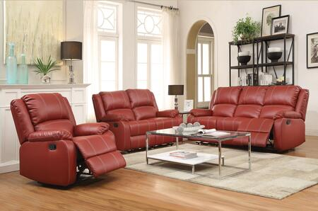Zuriel Collection 52150SLCT 5 PC Living Room Set with Sofa + Loveseat + Rocker Recliner + Coffee Table + End Table in Red