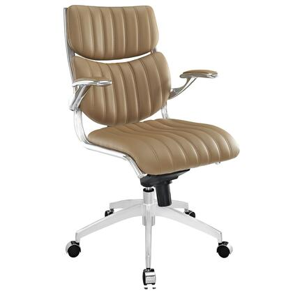 Escape Collection EEI-1028-TAN Office Chair with 360-Degree Swivel Seat  Pneumatic Height Adjustment  Five Dual-Casters  Tilt Control Tension Knob  Chrome