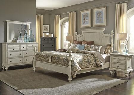 High Country Collection 697-BR-KPSDMN 4-Piece Bedroom Set with King Poster Bed  Dresser  Mirror and Night Stand in White