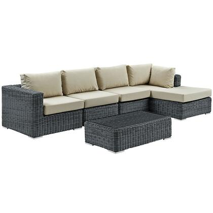Summon Collection EEI-1900-GRY-BEI-SET 5-Piece Outdoor Patio Sunbrella Sectional Set with Coffee Table  Corner Section  Right Arm Chaise and 2 Armless Chairs