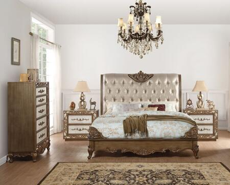 Orianne Collection 23784CK4SET 4 PC Bedroom Set with California King Size Bed  Chest and 2 Nightstands in Champagne and Antique Gold