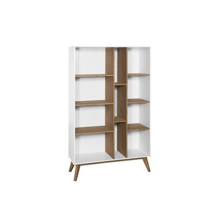 CS92408 Mid-Century Modern Vandalia Bookcase In White And Natural