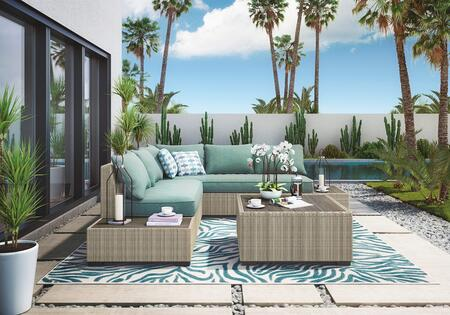 Silent Brook Collection P443-071-708 4-Piece Patio Set with Left Arm Facing Sofa  Loveseat with End Table  1 Separated End Table and Square Cocktail Table in