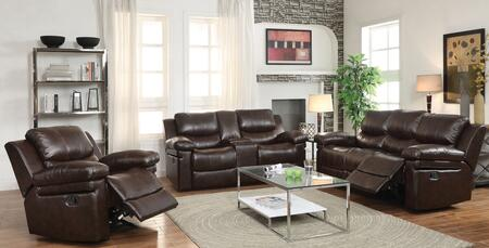 Xenos 52140SLR 3 PC Living Room Set with Sofa + Recliner + Loveseat with Console in Dark Brown