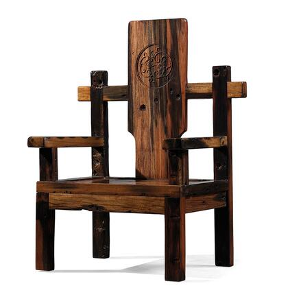 DS-A04 Aegle Arm Chair with Ornate Design and Wood Construction in Rustic