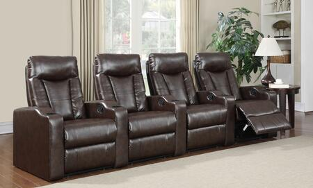 Camden Collection 4 Seat Recliner Theater Set with Sinuous Seat Spring  Grade Deluxe Foam Cushions  Wood Frame and Bonded Leather Upholstery in Brown
