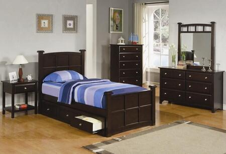 Jasper Collection 400751fset 6 Pc Bedroom Set With Full Size Panel Bed + Dresser + Mirror + Chest + Nightstand + Under Bed Storage In Cappuccino