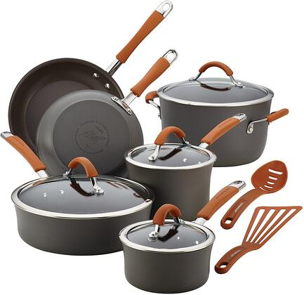 87635 12-Piece Cookware Set  Gray with Pumpkin Orange