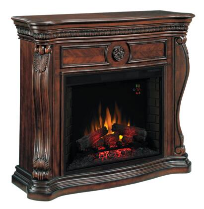 33WM881-C232 Lexington Infrared Electric Fireplace with Rosette Medallion Hand Carved Acanthus Leaf and Solid Wood Swan Neck Corner Posts in Empire Cherry