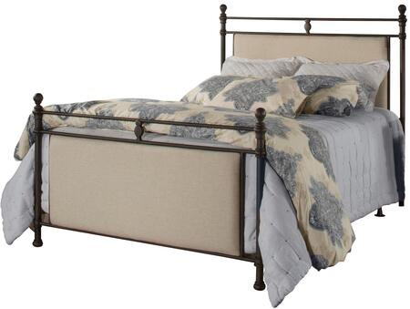 Ashley Collection 2137BQR Queen Size Bed with Headboard  Footboard  Rails  Round Finials  Upholstered Panels and Sturdy Metal Construction in Rustic Brown and