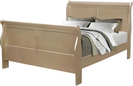 Hershel Louis Philippe Collection 204421F Full Size Sleigh Bed with Simplistic Design and Hardwood Construction in Metallic