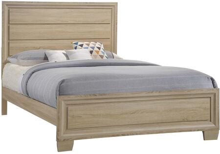 Vernon Collection 206351Q Queen Size Panel Bed with Clean Line Design  Low Profile Footboard  Raised Panels and Engineered 3-D Paper Veneer in White Washed