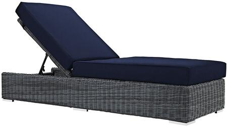 Summon Collection Eei1876grynav Outdoor Patio Sunbrella Chaise Lounge With Stainless Steel Legs  Synthetic Rattan Weave Material  Washable Cushion Cover  Uv