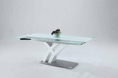 JILLIAN-DT JILLIAN Starphire Glass - Clear/White Dining Table Top with Self Storing Leaves and