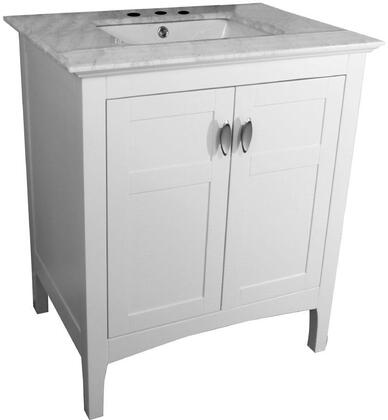 7613-WH-WH 30 inch  Single Sink Vanity in White with Marble Top in