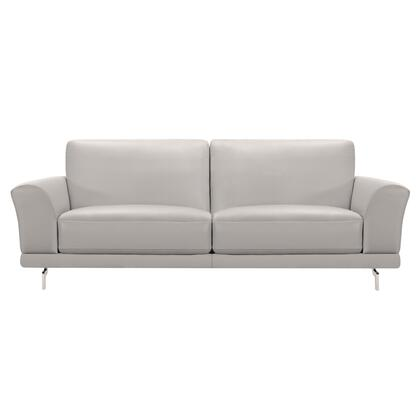 Everly Collection LCEV3GR Contemporary Sofa in Genuine Dove Grey Leather with Brushed Stainless Steel
