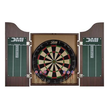 CABSETRW Deluxe Dartboard Rosewood Finish Cabinet Set with Chalk Scoreboards  Official 18 inch x1.5 inch  Bristle Dartboard  and Two Sets of Steel Tip