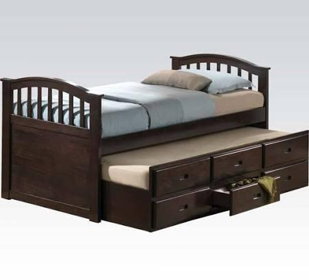 San Marino Collection 04990W Twin Size Bed with Storage Drawers  Trundle  Arched Design  Solid Wood and Wood Veneer Construction in Dark Walnut