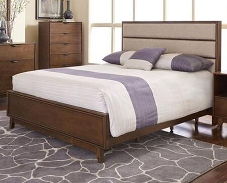 Mid-Mod B106-34-35-78 Queen Upholstered Panel Bed with Headboard  Footboard and Side Rails in