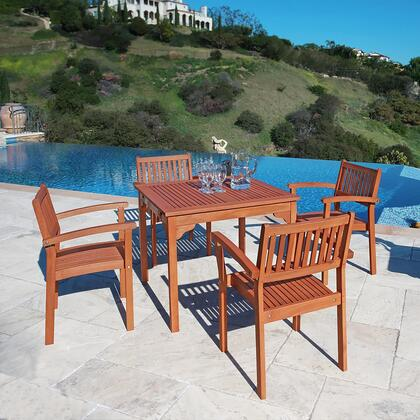 V1104SET1 Outdoor Wood Stacking Table and 4 V1080 Stacking Dining